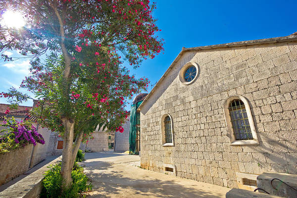 Starigrad Photograph - Stone Church And Flowers Of Hvar Island by Brch Photography