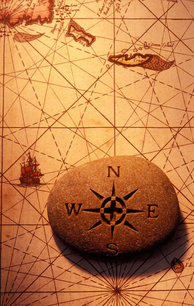 Wall Art - Photograph - Stone Compass On Old Map by Garry Gay