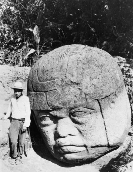 Smithsonian Photograph - Stone Heads Found In Mexico by Underwood Archives