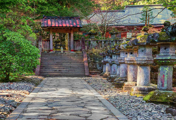 Nikko Photograph - Stone Path Leading To Red Japanese by Sheila Haddad