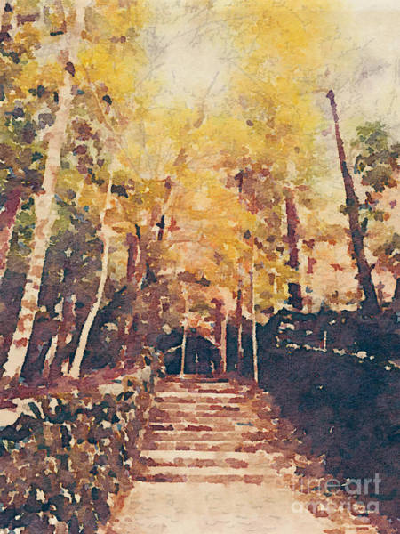 Painting - Stone Path Through A Forest In Autumn by Beverly Claire Kaiya