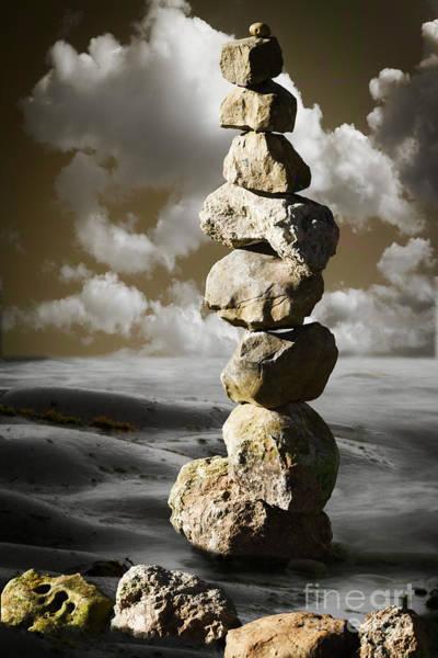 Photograph - Stone Pyramid In Balance by Heiko Koehrer-Wagner