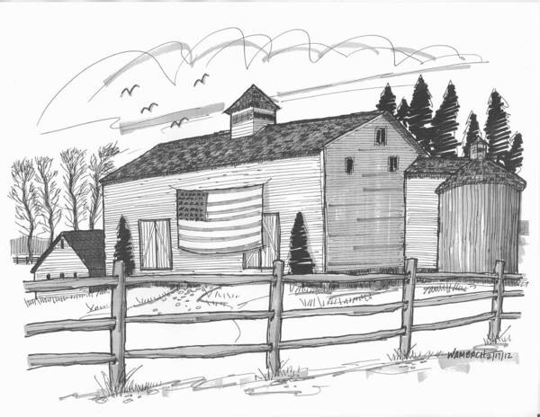 Stone Ridge Barn With Flag Art Print