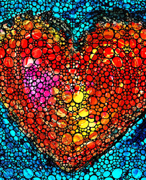 Art For Sale Online Painting - Stone Rock'd Heart - Colorful Love From Sharon Cummings by Sharon Cummings
