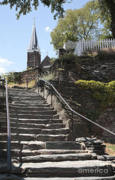Wall Art - Photograph - Stone Steps And Saint Peters Church At Harpers Ferry by William Kuta