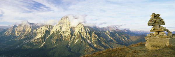Peacefulness Photograph - Stone Structure With A Mountain Range by Panoramic Images