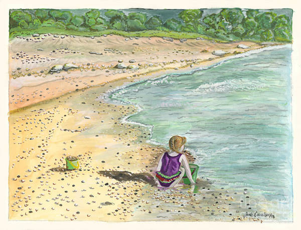 Sand Castle Painting - Stone Treasures by Janis  Cornish