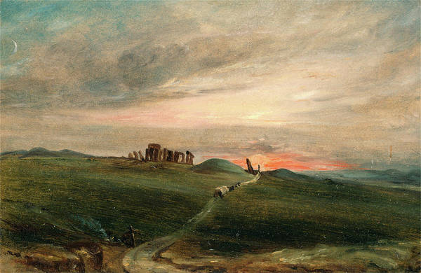 Wall Art - Painting - Stonehenge At Sunset, After John Constable by Litz Collection