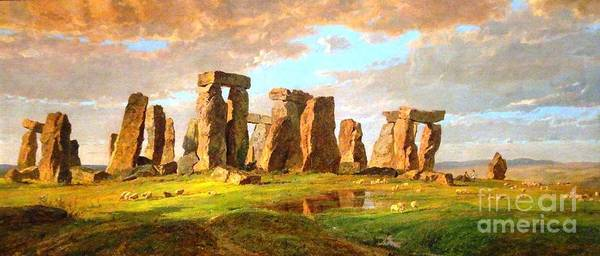World Heritage Site Painting - Stonehenge by Pg Reproductions