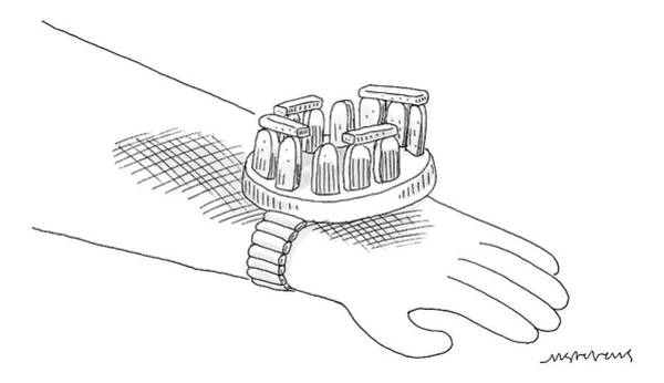 September 16th Drawing - Stonehenge, The Watch: Stonehenge As A Wristwatch by Mick Stevens