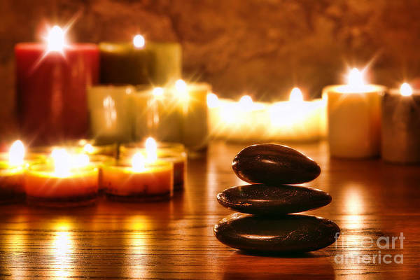 Wall Art - Photograph - Stones Cairn And Candles by Olivier Le Queinec