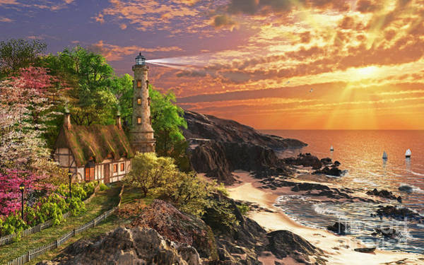 Lighthouses Digital Art - Stoney Cove Lighthouse by MGL Meiklejohn Graphics Licensing