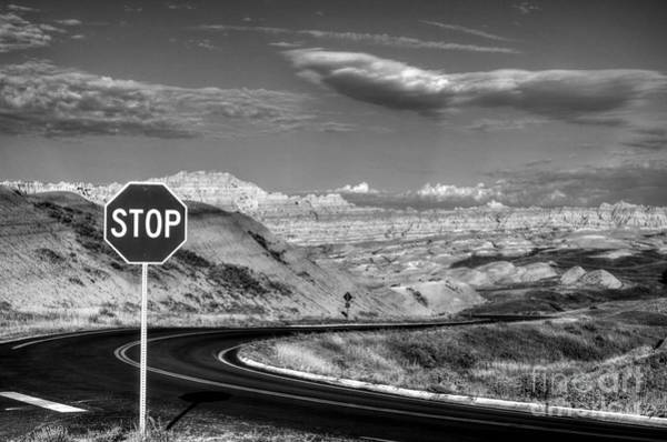 Photograph - Stop At The Badlands Bw by Mel Steinhauer