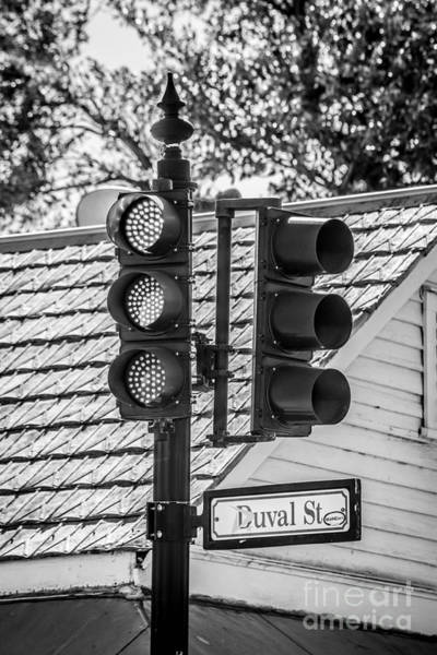 Stop Light Photograph - Stop For Red On Duval - Key West - Black And White by Ian Monk
