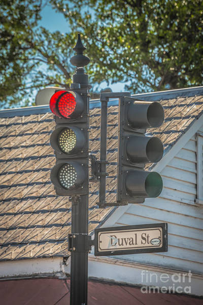 Stop Light Photograph - Stop For Red On Duval - Key West - Hdr Style by Ian Monk