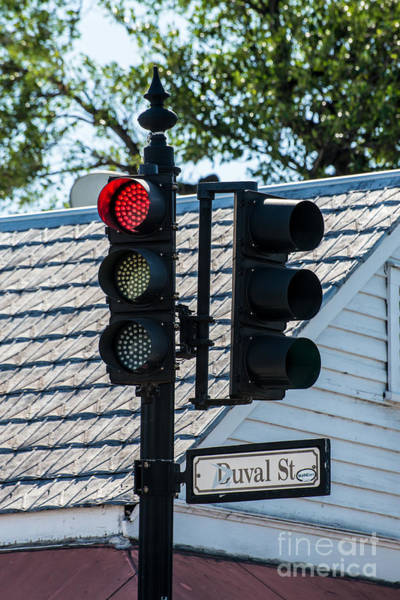 Stop Light Photograph - Stop For Red On Duval - Key West  by Ian Monk