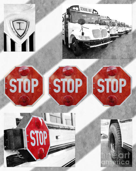 Photograph - Stop For Students Painterly Bw Red Signs by Andee Design