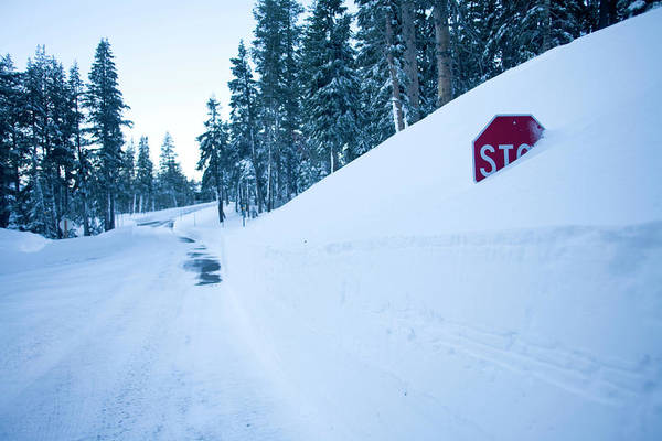 Buried Wall Art - Photograph - Stop Sign Buried In Snow At Kirkwood by Justin Bailie