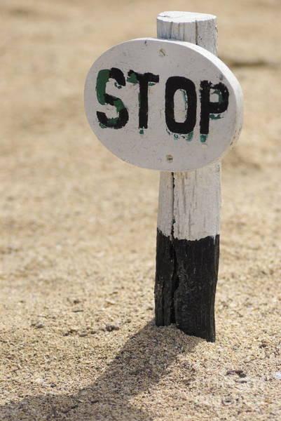 North Seymour Island Photograph - Stop Sign On Sand by Sami Sarkis