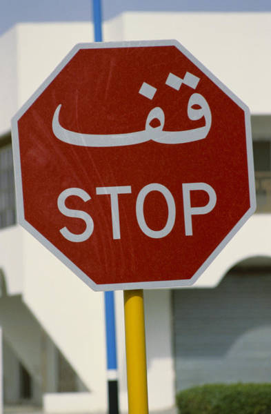 Written Language Photograph - Stop Sign, Saudi Arabia by Ray Ellis