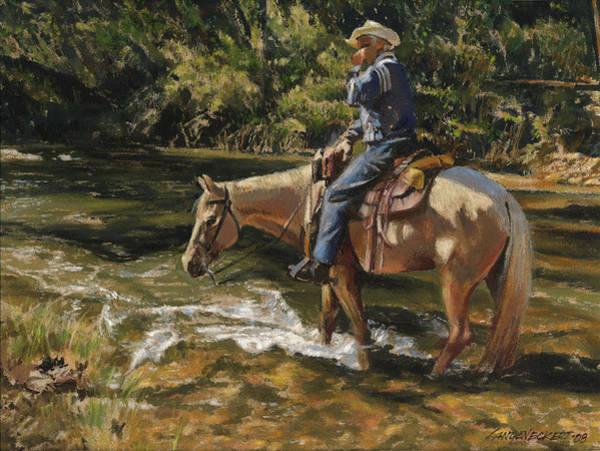 Wall Art - Painting - Man On Horse Cooling Feet by Don  Langeneckert
