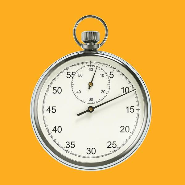 Dials Photograph - Stopwatch On Yellow Background by David Parker