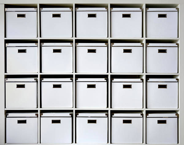 Storage Photograph - Storage Boxes On Shelves by Wladimir Bulgar