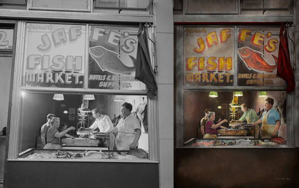 Colorization Photograph - Store - Fish Ny - Jaffe's Fish Market - Side By Side by Mike Savad