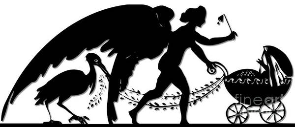 Digital Art - Stork Angel And Baby In A Baby Buggy Silhouette by Rose Santuci-Sofranko