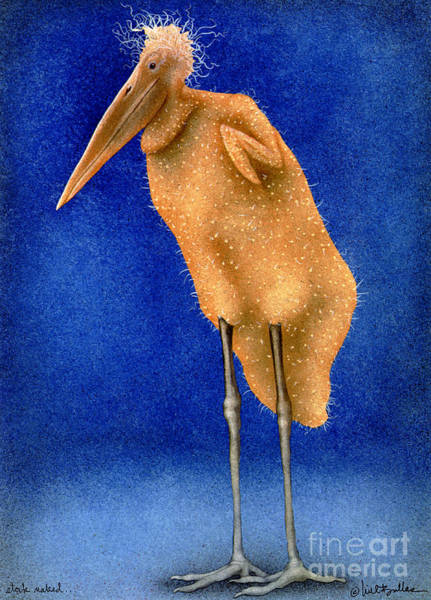 Stork Painting - Stork Naked... by Will Bullas