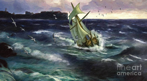 Shipwreck Digital Art - Storm At Dubrovnik by Lianne Schneider