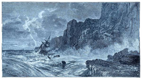 Lifeboat Photograph - Storm At Sea And Shipwreck by David Parker/science Photo Library