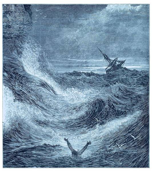 Drown Photograph - Storm At Sea. by David Parker/science Photo Library