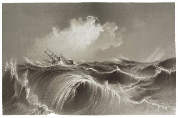 Drown Photograph - Storm At Sea Engraving by David Parker/science Photo Library