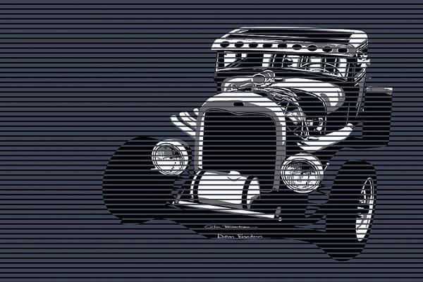 Hot Rod Digital Art - Storm Blue Rat by Motorvate Studio