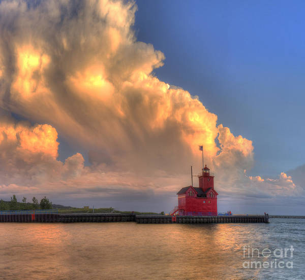 Holland Michigan Wall Art - Photograph - Storm Cloud Over Big Red Lighthouse by Twenty Two North Photography