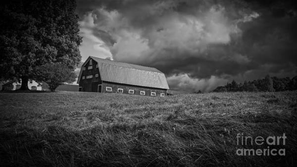 Barn Storm Wall Art - Photograph - Storm Clouds Over The Farm by Edward Fielding