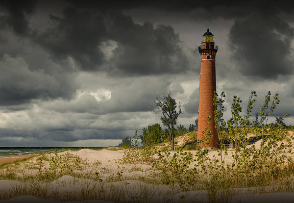 Photograph - Storm Clouds Passing The Little Sable Point Lighthouse by Randall Nyhof