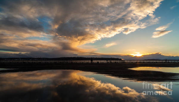 Puget Sound Photograph - Storm Clouds Reflected by Mike Reid