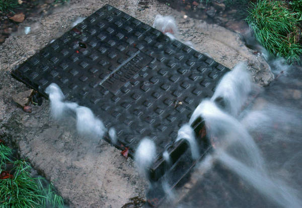 Drain Photograph - Storm Drain Overflowing by Adam Hart-davis/science Photo Library