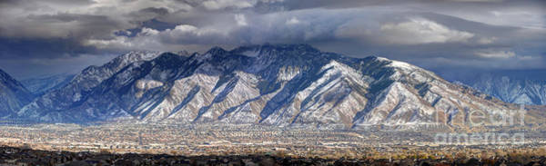 Storm Front Passes Over The Wasatch Mountains And Salt Lake Valley - Utah Art Print