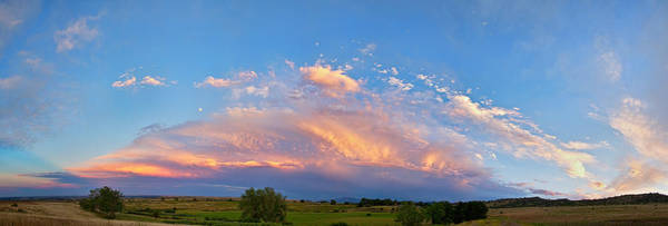Shelf Cloud Photograph - Storm Front Sunset Moon Longmont To Boulder Co Panorama by James BO Insogna