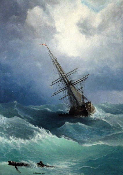 Shipwreck Painting - Storm by Mikhail Savchenko
