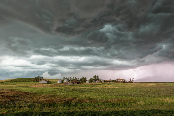 Farmstead Photograph - Storm Over Farmhouse by Roger Hill/science Photo Library