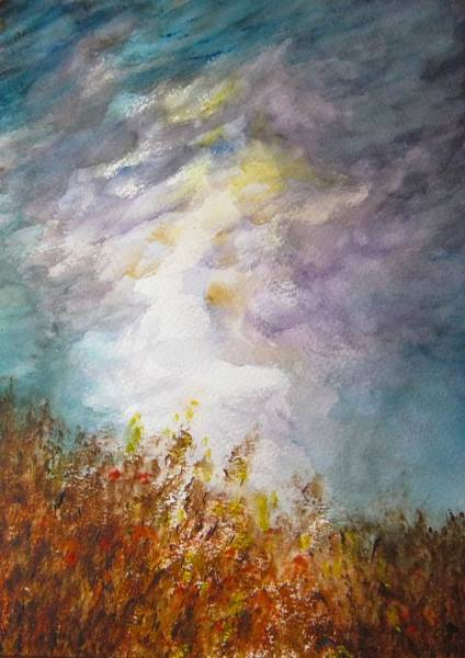 Barley Painting - Storm Over The Meadow by Jean Tatton Jones