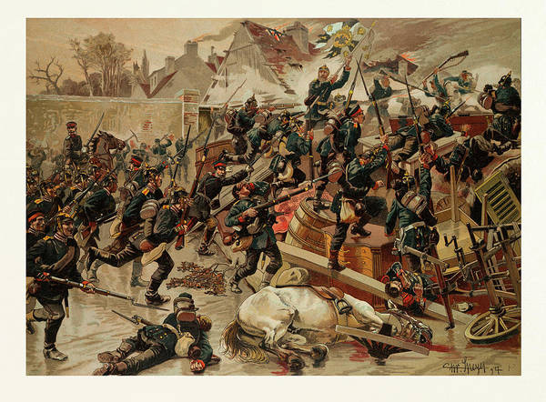 Brigade Drawing - Storming Of The Great Barricade At The Entrance Of Le by French School