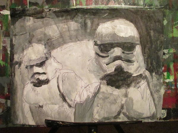 Episode Iv Wall Art - Drawing - Stormtrooper Acrylic Paint Sketch by David Lovins