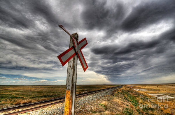 Rail Crossing Photograph - Stormy Crossing by Bob Christopher