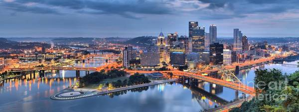 Photograph - Stormy Morning Skies Over Pittsburgh by Adam Jewell