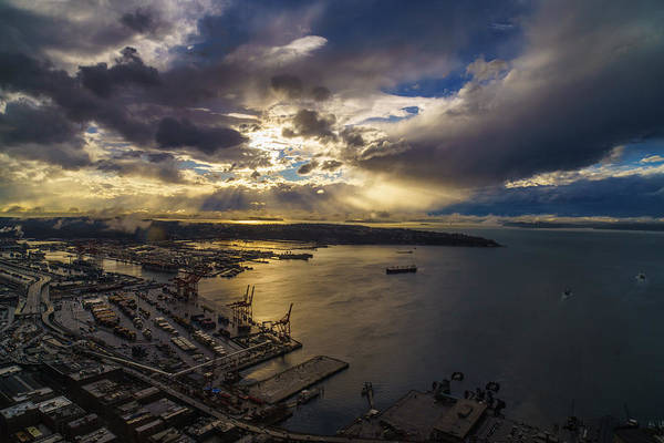 Puget Sound Photograph - Stormy Night Coming by Mike Reid